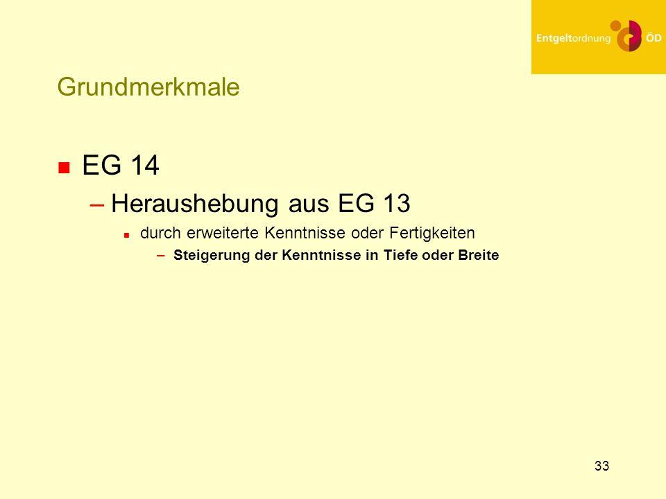 34 Grundmerkmale n EG 15 n Heraushebung aus EG 13 durch vielseitige erweiterte Kenntnisse oder Fertigkeiten – Steigerung der Kenntnisse in Tiefe und Breite