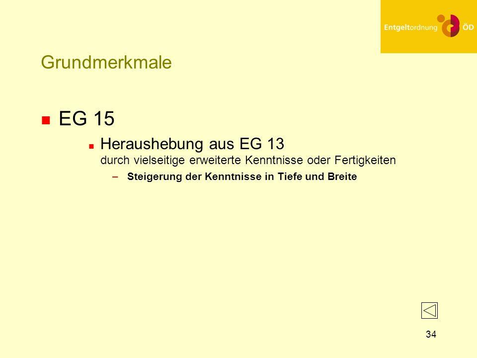 34 Grundmerkmale n EG 15 n Heraushebung aus EG 13 durch vielseitige erweiterte Kenntnisse oder Fertigkeiten – Steigerung der Kenntnisse in Tiefe und B