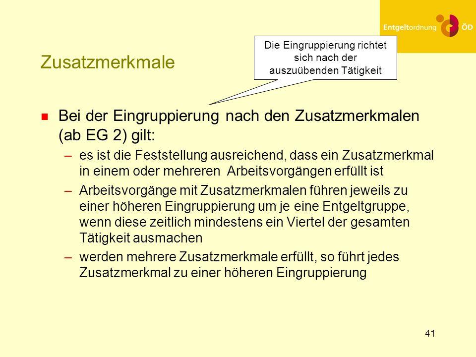 42 Zusatzmerkmale n Bestimmung der Zusatzmerkmale (ab EG 2)