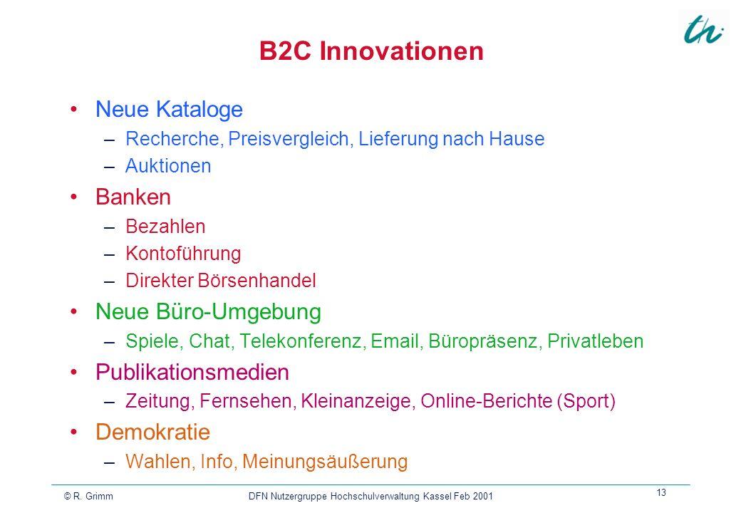 © R. Grimm DFN Nutzergruppe Hochschulverwaltung Kassel Feb 2001 13 B2C Innovationen Neue Kataloge –Recherche, Preisvergleich, Lieferung nach Hause –Au