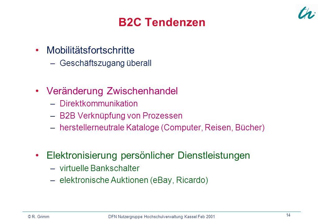 © R. Grimm DFN Nutzergruppe Hochschulverwaltung Kassel Feb 2001 14 B2C Tendenzen Mobilitätsfortschritte –Geschäftszugang überall Veränderung Zwischenh