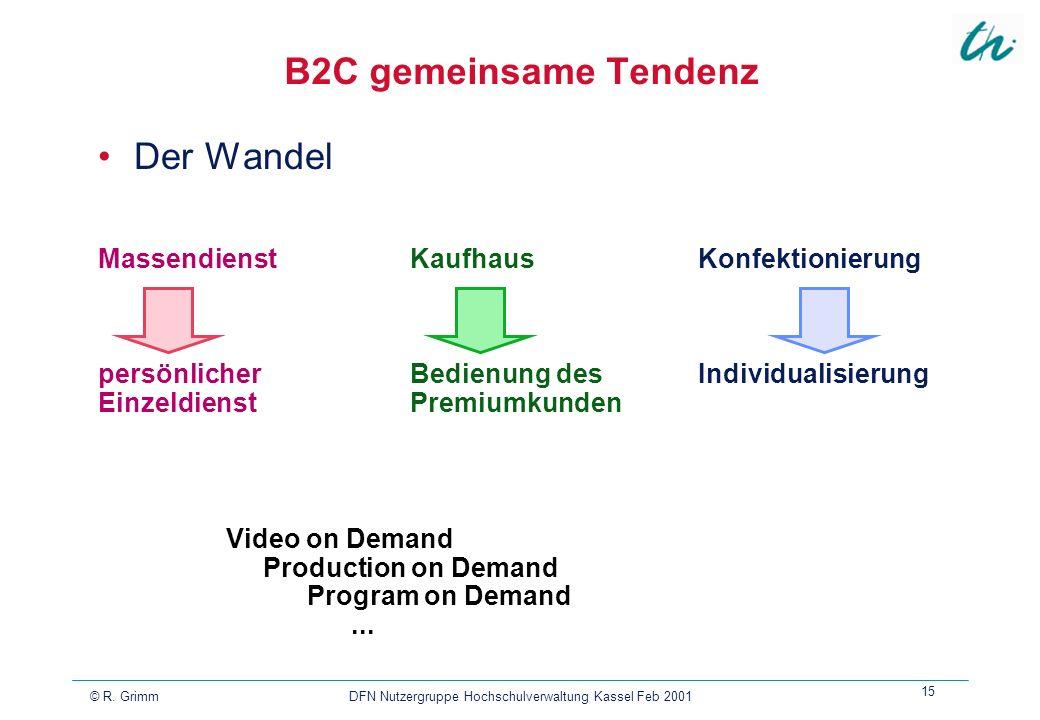 © R. Grimm DFN Nutzergruppe Hochschulverwaltung Kassel Feb 2001 15 B2C gemeinsame Tendenz Der Wandel Video on Demand Production on Demand Program on D