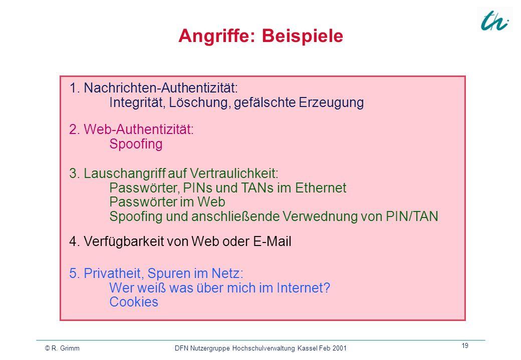 © R. Grimm DFN Nutzergruppe Hochschulverwaltung Kassel Feb 2001 19 Angriffe: Beispiele 5. Privatheit, Spuren im Netz: Wer weiß was über mich im Intern