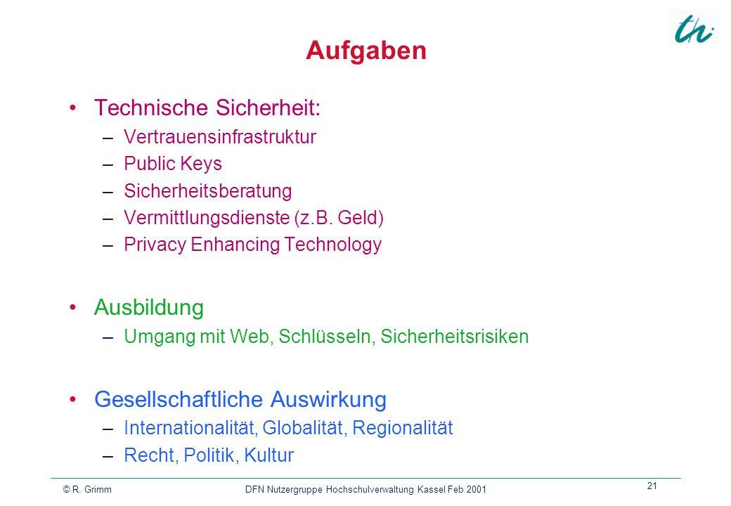 © R. Grimm DFN Nutzergruppe Hochschulverwaltung Kassel Feb 2001 21 Aufgaben Technische Sicherheit: –Vertrauensinfrastruktur –Public Keys –Sicherheitsb