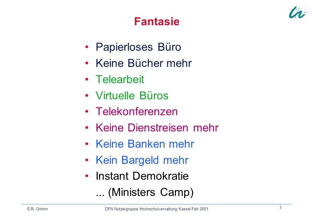 © R. Grimm DFN Nutzergruppe Hochschulverwaltung Kassel Feb 2001 3 Fantasie Papierloses Büro Keine Bücher mehr Telearbeit Virtuelle Büros Telekonferenz