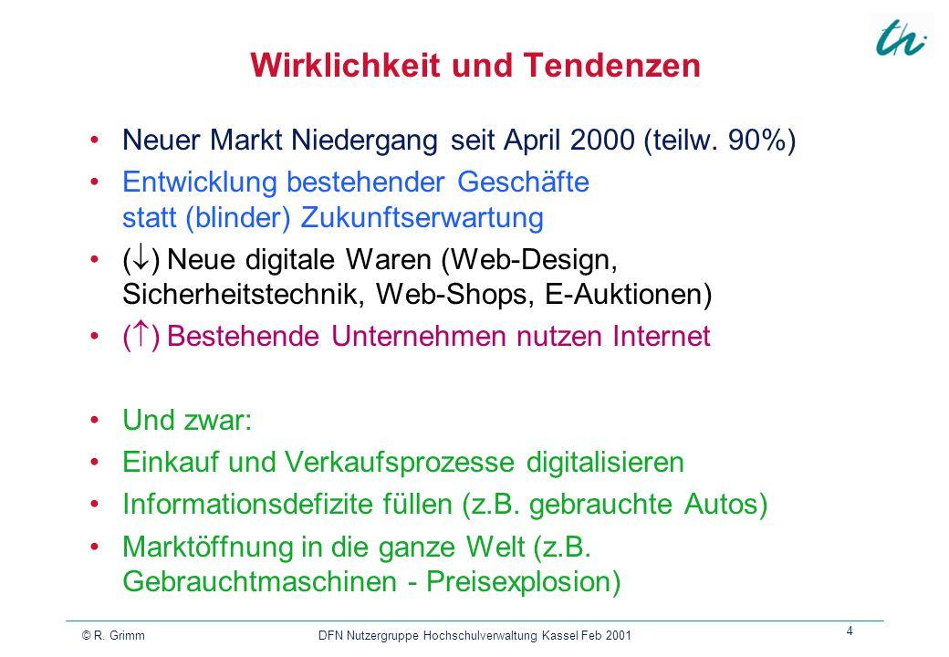 © R. Grimm DFN Nutzergruppe Hochschulverwaltung Kassel Feb 2001 4 Wirklichkeit und Tendenzen Neuer Markt Niedergang seit April 2000 (teilw. 90%) Entwi
