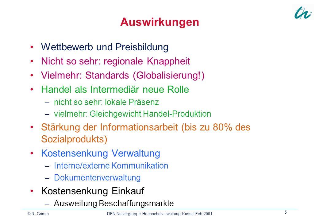 © R. Grimm DFN Nutzergruppe Hochschulverwaltung Kassel Feb 2001 5 Auswirkungen Wettbewerb und Preisbildung Nicht so sehr: regionale Knappheit Vielmehr