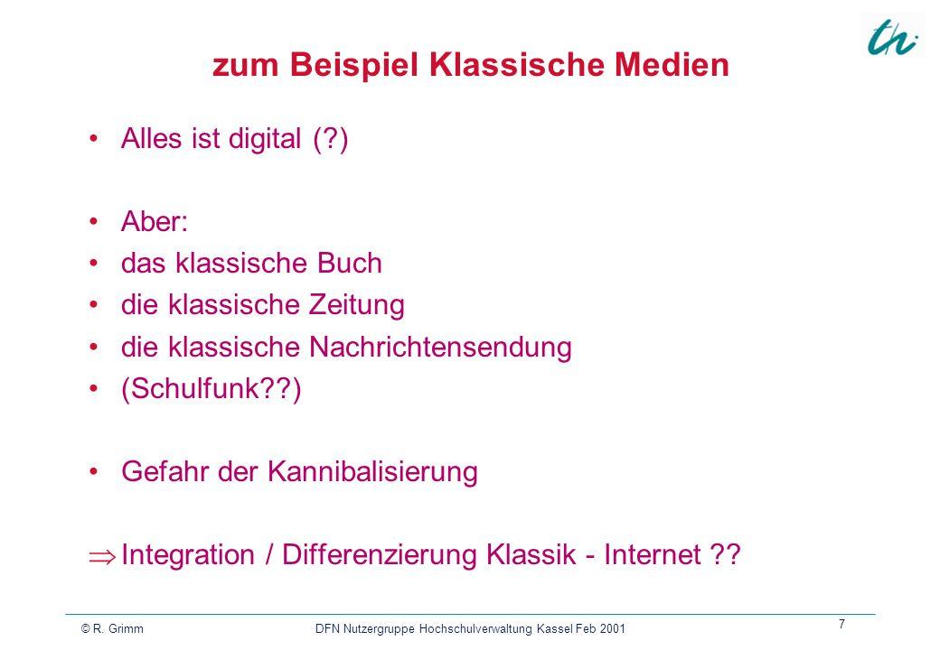 © R. Grimm DFN Nutzergruppe Hochschulverwaltung Kassel Feb 2001 7 zum Beispiel Klassische Medien Alles ist digital (?) Aber: das klassische Buch die k