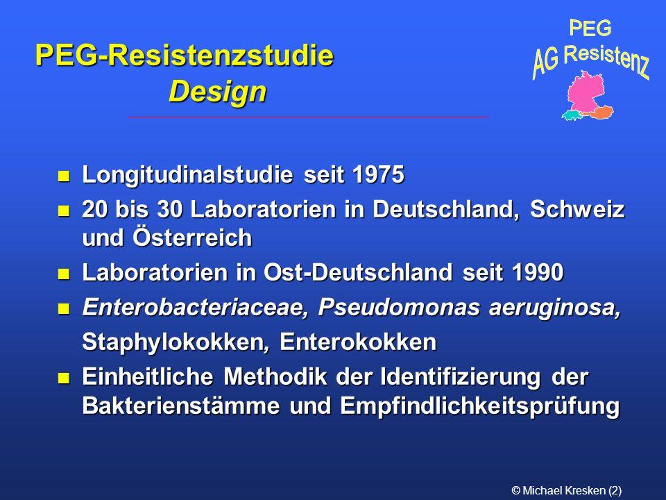 © Michael Kresken (3) 1975-1984: unveränderte Resistenzlage oder rückläufige Tendenz bei den meisten Bakteriengruppen 1986-1995: bei den meisten Bakteriengruppen Zunahme der Resistenz gegenüber vielen Antibiotika Trends der Resistenzentwicklung