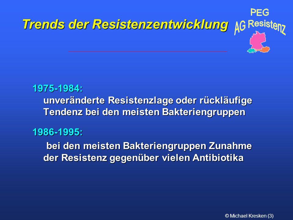 © Michael Kresken (3) 1975-1984: unveränderte Resistenzlage oder rückläufige Tendenz bei den meisten Bakteriengruppen 1986-1995: bei den meisten Bakte