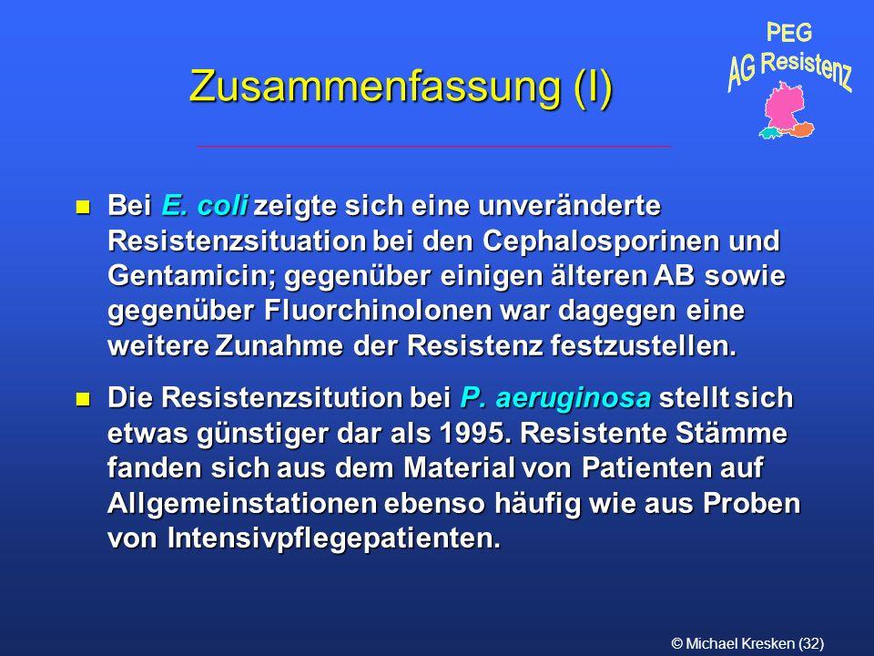 © Michael Kresken (32) Zusammenfassung (I) n Bei E. coli zeigte sich eine unveränderte Resistenzsituation bei den Cephalosporinen und Gentamicin; gege