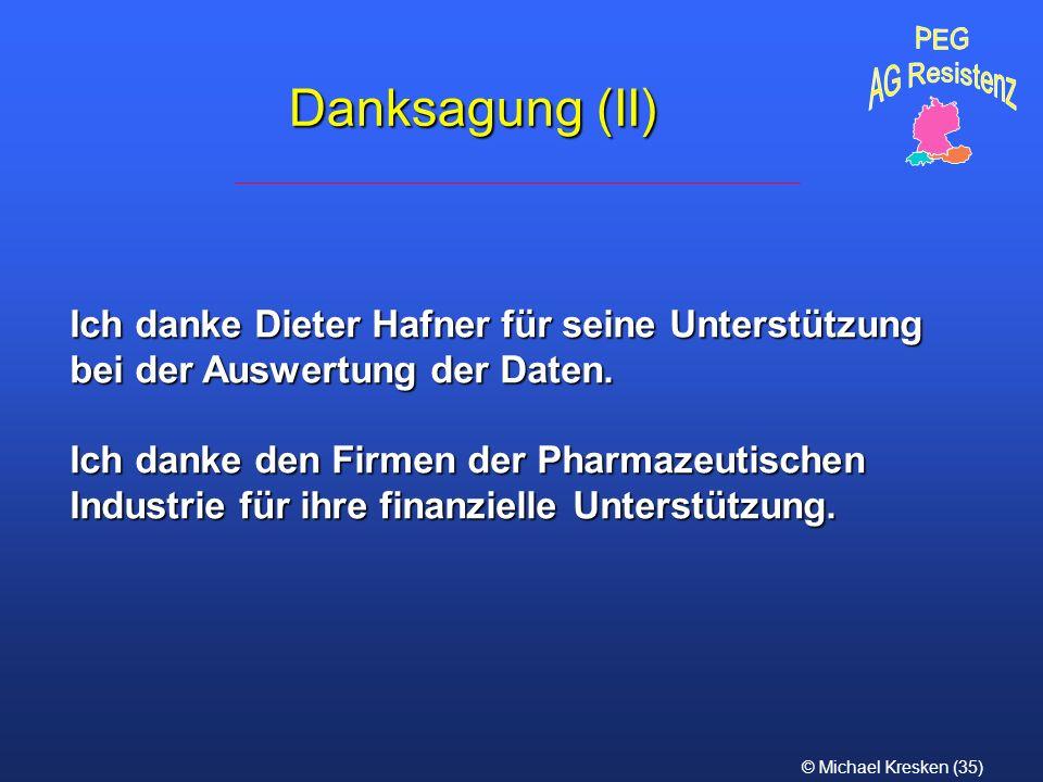 © Michael Kresken (35) Danksagung (II) Ich danke Dieter Hafner für seine Unterstützung bei der Auswertung der Daten. Ich danke den Firmen der Pharmaze