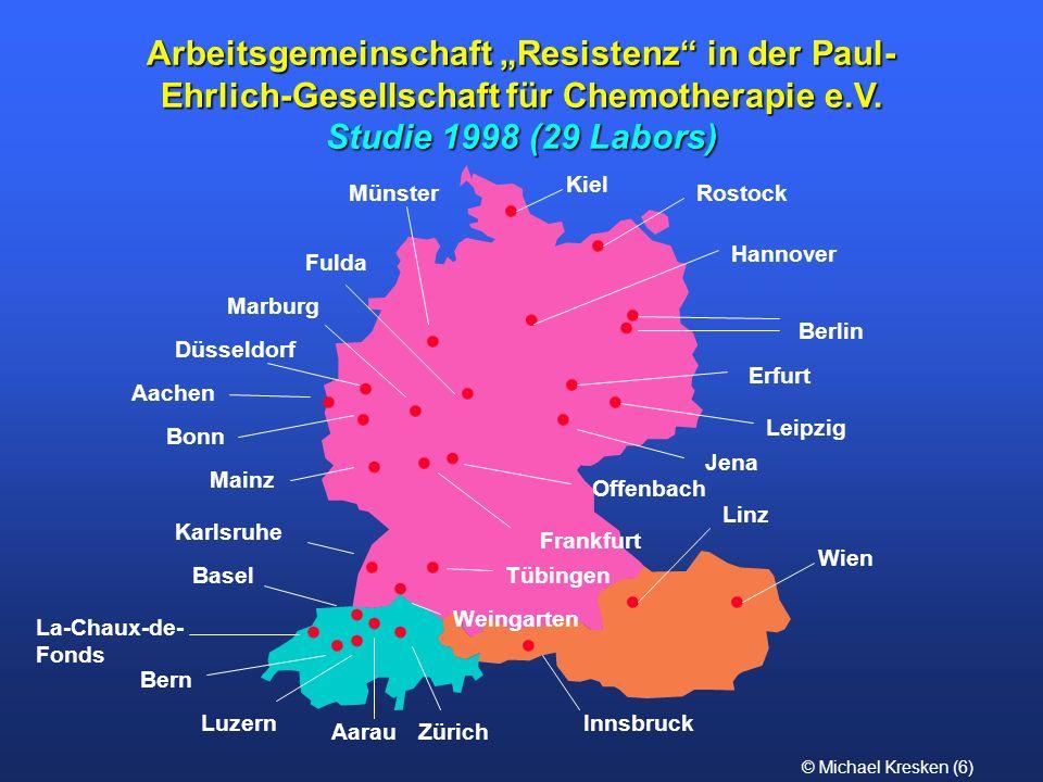 © Michael Kresken (7) Studie 1998 Bakterienstämme n ~ 200 frische klinische Isolate/Labor – 80 Enterobacteriaceae (max.