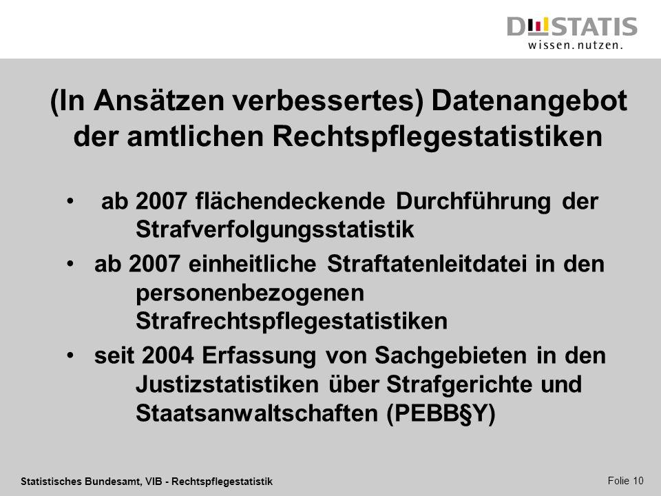 Statistisches Bundesamt, VIB - Rechtspflegestatistik Folie 10 (In Ansätzen verbessertes) Datenangebot der amtlichen Rechtspflegestatistiken ab 2007 fl