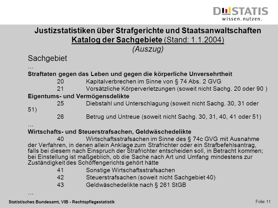 Statistisches Bundesamt, VIB - Rechtspflegestatistik Folie 11 Justizstatistiken über Strafgerichte und Staatsanwaltschaften Katalog der Sachgebiete (S