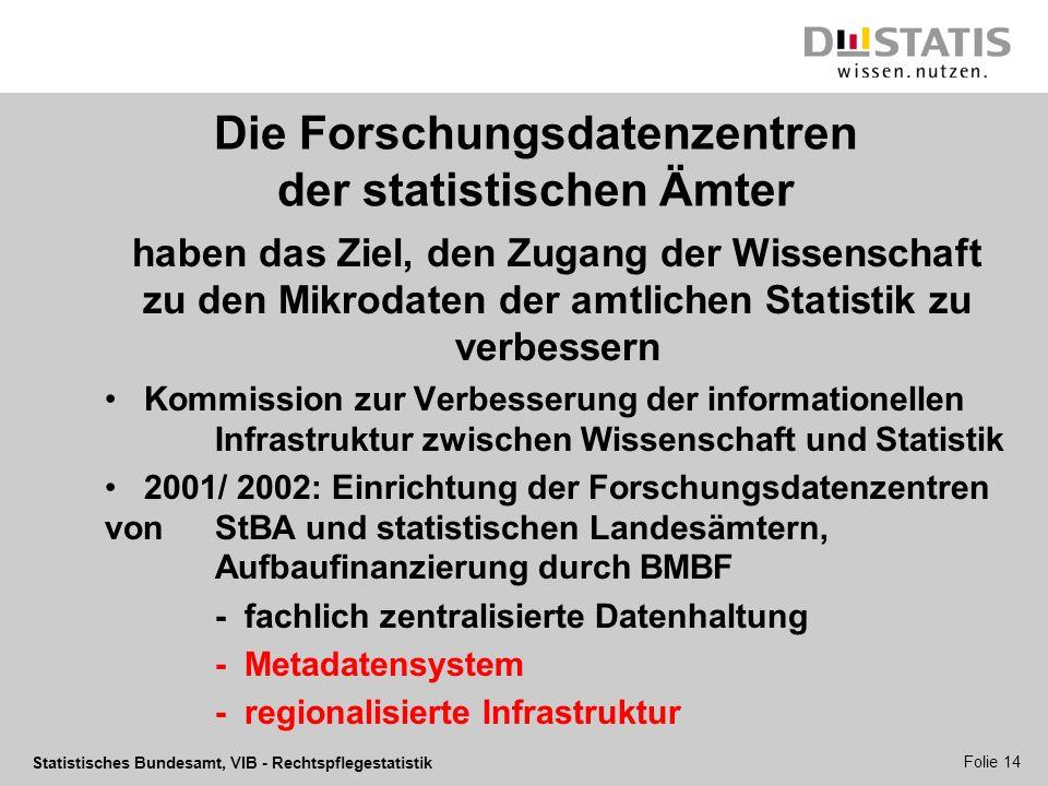 Statistisches Bundesamt, VIB - Rechtspflegestatistik Folie 14 Die Forschungsdatenzentren der statistischen Ämter haben das Ziel, den Zugang der Wissen
