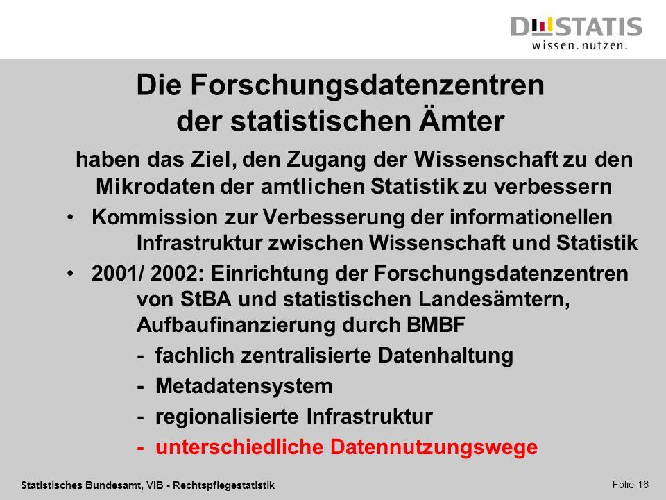 Statistisches Bundesamt, VIB - Rechtspflegestatistik Folie 16 Die Forschungsdatenzentren der statistischen Ämter haben das Ziel, den Zugang der Wissen