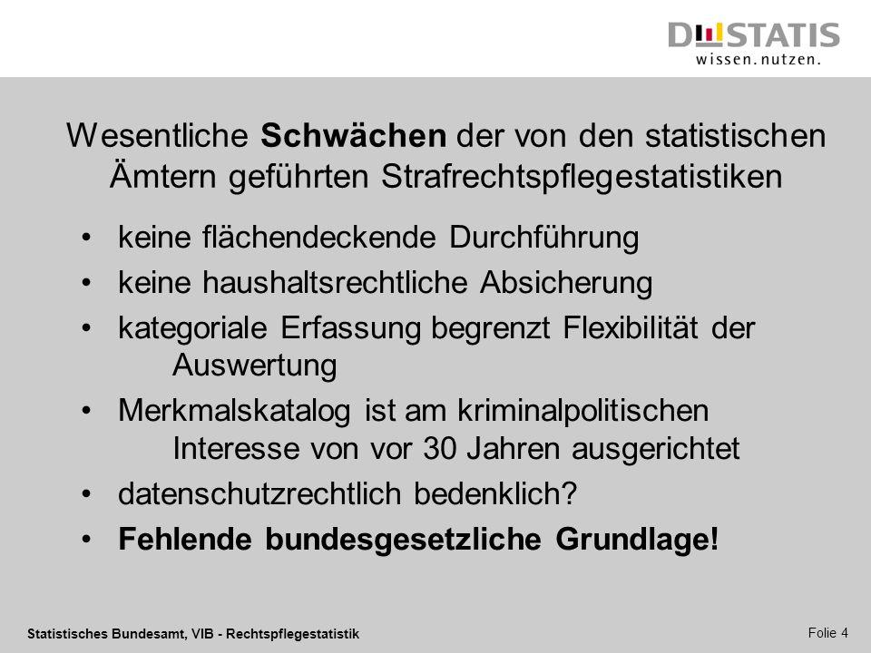 Statistisches Bundesamt, VIB - Rechtspflegestatistik Folie 4 Wesentliche Schwächen der von den statistischen Ämtern geführten Strafrechtspflegestatist