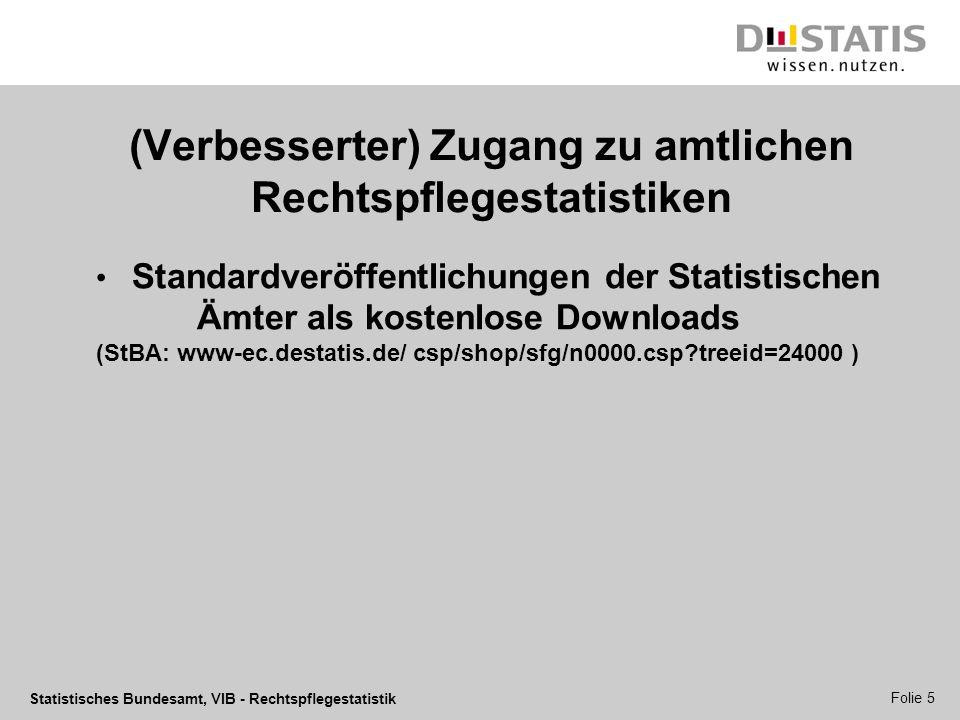 Statistisches Bundesamt, VIB - Rechtspflegestatistik Folie 5 (Verbesserter) Zugang zu amtlichen Rechtspflegestatistiken Standardveröffentlichungen der