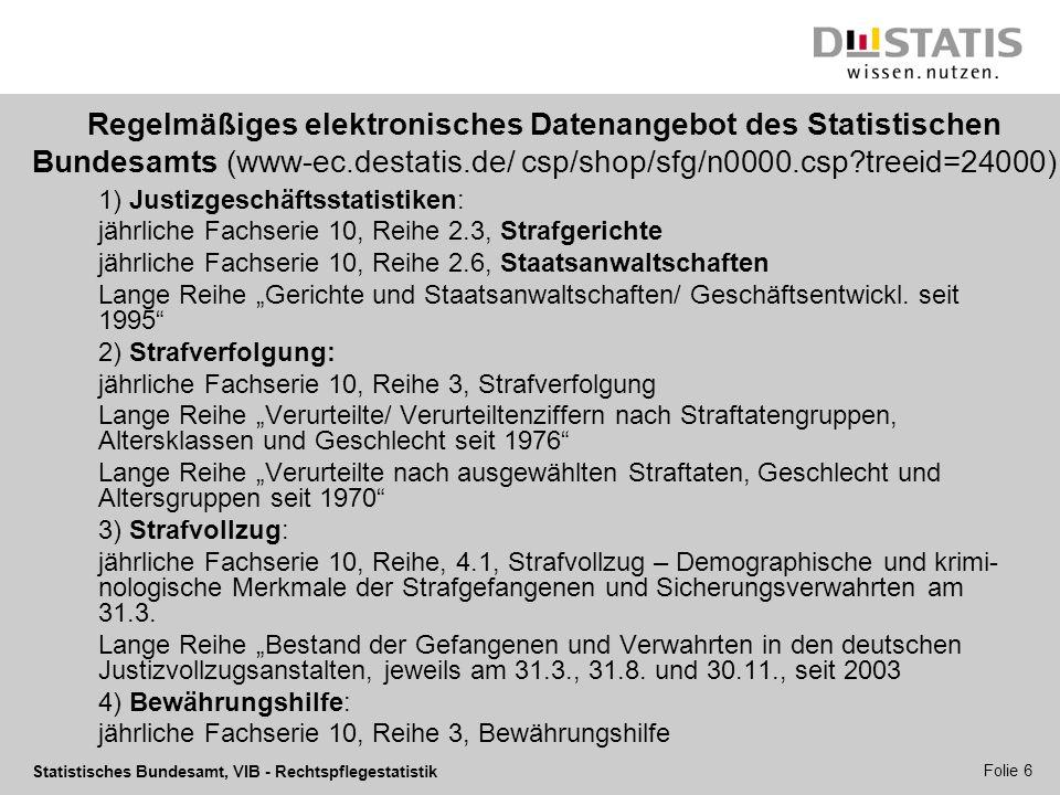 Statistisches Bundesamt, VIB - Rechtspflegestatistik Folie 7 (Verbesserter) Zugang zu amtlichen Rechtspflegestatistiken Standardveröffentlichungen der Statistischen Ämter als kostenlose Downloads (StBA: www-ec.destatis.de/ csp/shop/sfg/n0000.csp?treeid=24000 ) Einzeldaten der personenbezogenen Strafrechtspflegestatistiken über das Forschungsdatenzentrum des statistischen Ämter (www.forschungsdatenzentrum.de)