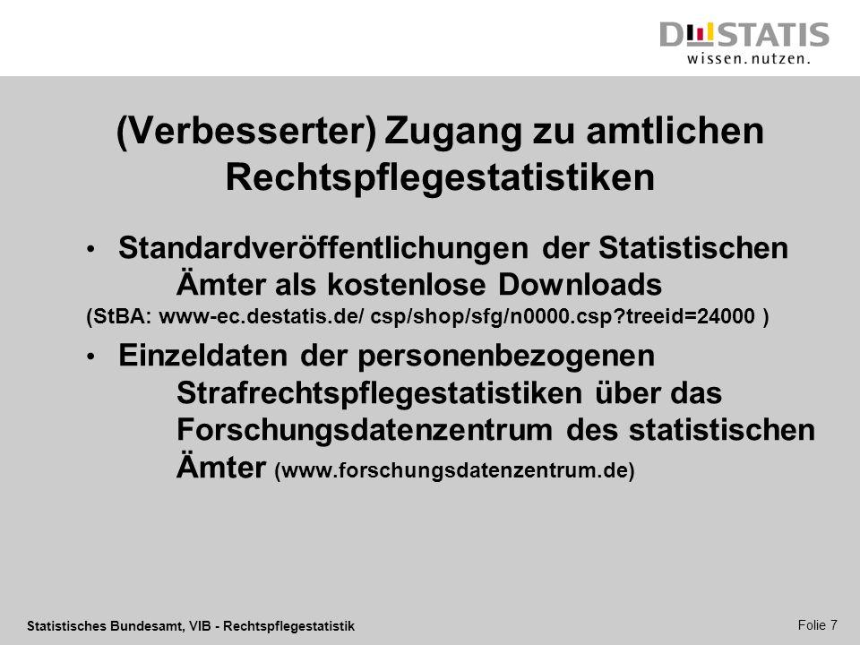 Statistisches Bundesamt, VIB - Rechtspflegestatistik Folie 7 (Verbesserter) Zugang zu amtlichen Rechtspflegestatistiken Standardveröffentlichungen der