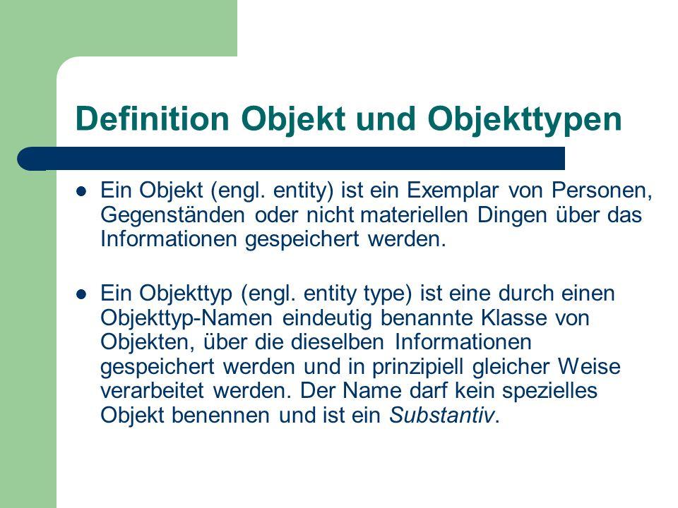 Definition Objekt und Objekttypen Ein Objekt (engl. entity) ist ein Exemplar von Personen, Gegenständen oder nicht materiellen Dingen über das Informa