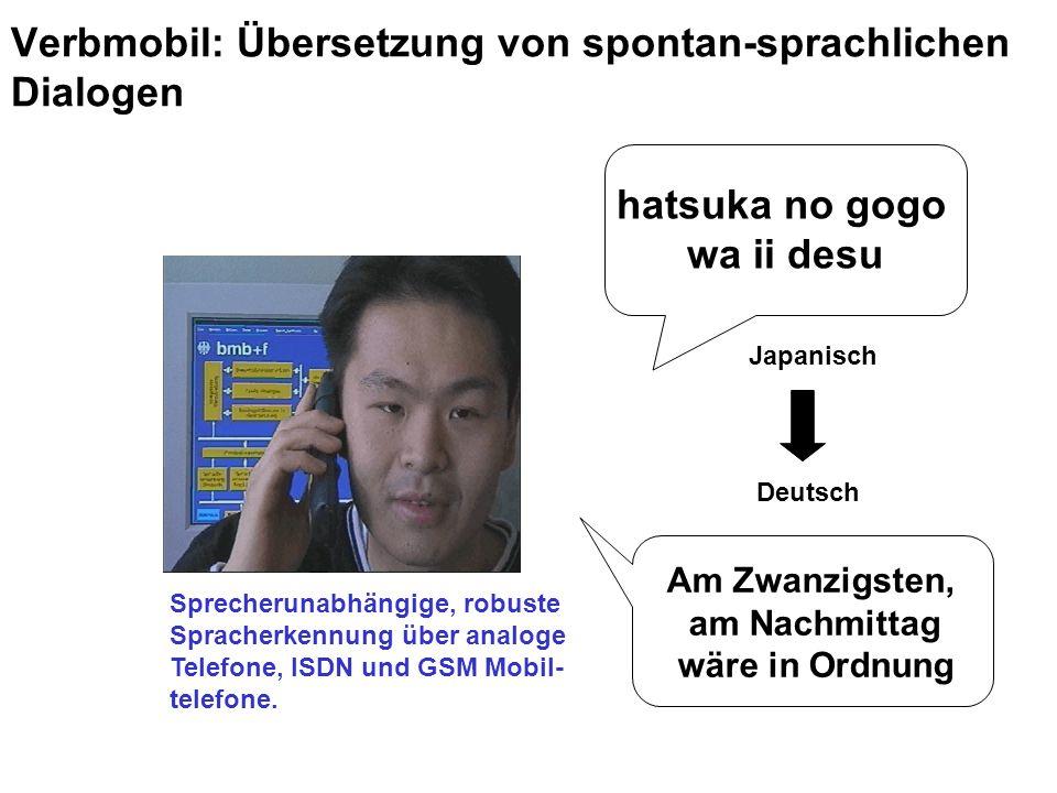 hatsuka no gogo wa ii desu Am Zwanzigsten, am Nachmittag wäre in Ordnung Sprecherunabhängige, robuste Spracherkennung über analoge Telefone, ISDN und GSM Mobil- telefone.