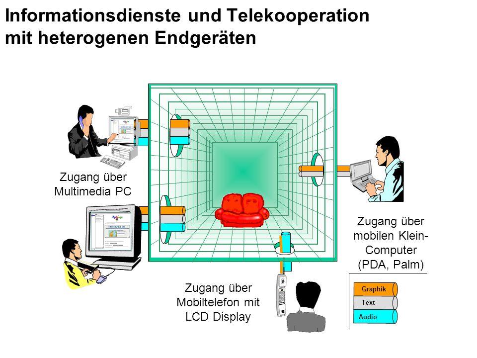 Zugang über Multimedia PC Zugang über Mobiltelefon mit LCD Display Zugang über mobilen Klein- Computer (PDA, Palm) Graphik Audio Text Informationsdienste und Telekooperation mit heterogenen Endgeräten