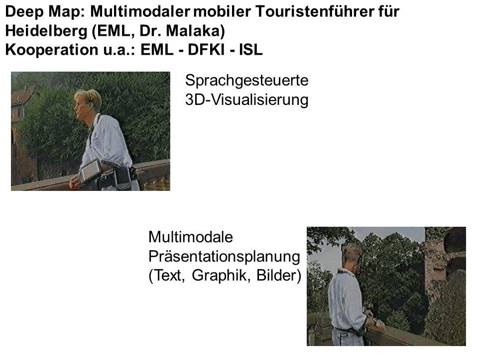 Sprachgesteuerte 3D-Visualisierung Multimodale Präsentationsplanung (Text, Graphik, Bilder) Deep Map: Multimodaler mobiler Touristenführer für Heidelberg (EML, Dr.