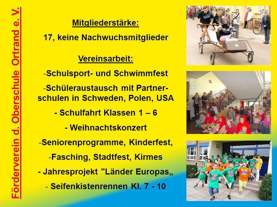 Förderverein d. Oberschule Ortrand e. V. Mitgliederstärke: 17, keine Nachwuchsmitglieder Vereinsarbeit: -Schulsport- und Schwimmfest -Schüleraustausch