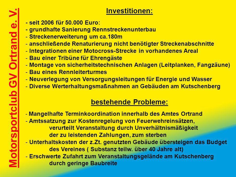 Motorsportclub GV Ortrand e. V. Investitionen: - seit 2006 für 50.000 Euro: - grundhafte Sanierung Rennstreckenunterbau - Streckenerweiterung um ca.18