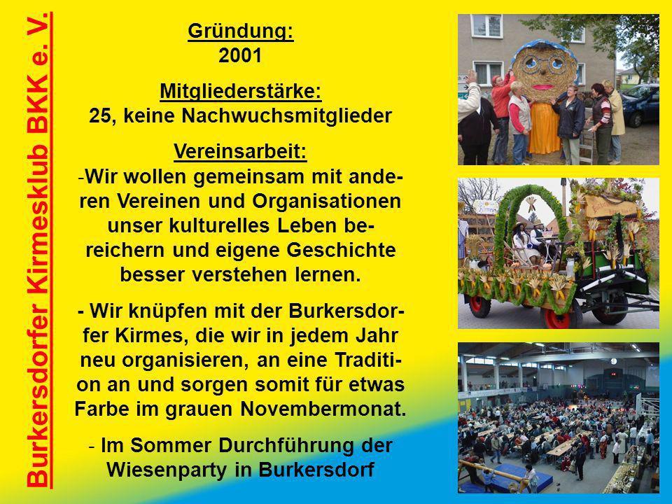 Burkersdorfer Kirmesklub BKK e. V. Gründung: 2001 Mitgliederstärke: 25, keine Nachwuchsmitglieder Vereinsarbeit: -Wir wollen gemeinsam mit ande- ren V