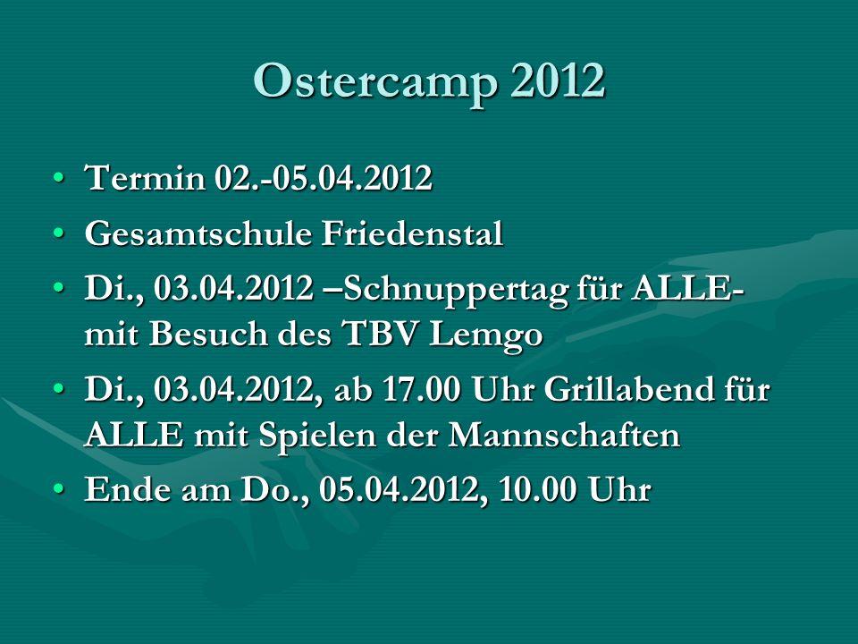 Ostercamp 2012 Termin 02.-05.04.2012Termin 02.-05.04.2012 Gesamtschule FriedenstalGesamtschule Friedenstal Di., 03.04.2012 –Schnuppertag für ALLE- mit
