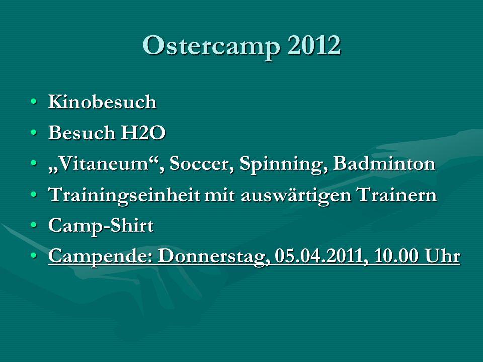 Ostercamp 2012 KinobesuchKinobesuch Besuch H2OBesuch H2O Vitaneum, Soccer, Spinning, BadmintonVitaneum, Soccer, Spinning, Badminton Trainingseinheit m
