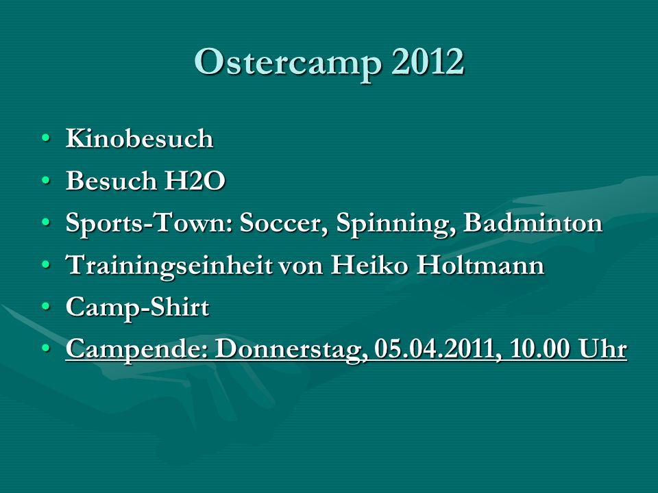 Ostercamp 2012 KinobesuchKinobesuch Besuch H2OBesuch H2O Sports-Town: Soccer, Spinning, BadmintonSports-Town: Soccer, Spinning, Badminton Trainingsein