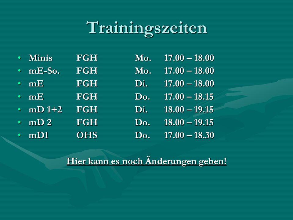 Trainingszeiten MinisFGH Mo. 17.00 – 18.00MinisFGH Mo. 17.00 – 18.00 mE-So.FGH Mo. 17.00 – 18.00mE-So.FGH Mo. 17.00 – 18.00 mEFGHDi.17.00 – 18.00mEFGH