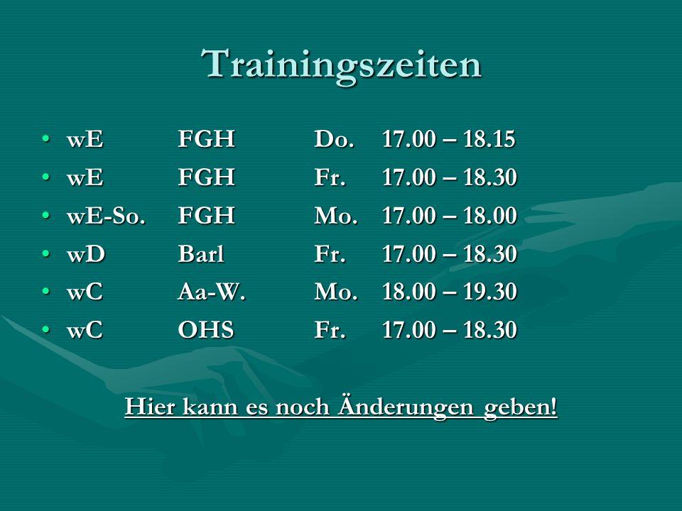 Trainingszeiten wEFGHDo.17.00 – 18.15wEFGHDo.17.00 – 18.15 wEFGH Fr. 17.00 – 18.30wEFGH Fr. 17.00 – 18.30 wE-So.FGH Mo. 17.00 – 18.00wE-So.FGH Mo. 17.
