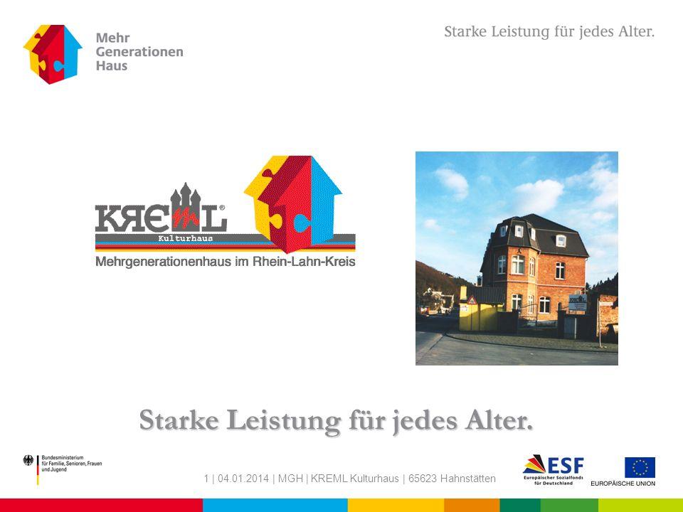 1 | 04.01.2014 | MGH | KREML Kulturhaus | 65623 Hahnstätten Starke Leistung für jedes Alter.