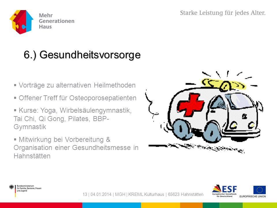 13 | 04.01.2014 | MGH | KREML Kulturhaus | 65623 Hahnstätten 6.) Gesundheitsvorsorge Vorträge zu alternativen Heilmethoden Offener Treff für Osteoporo