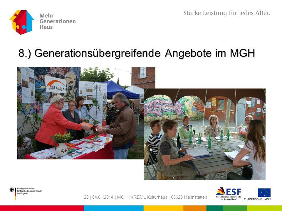 20 | 04.01.2014 | MGH | KREML Kulturhaus | 65623 Hahnstätten 8.) Generationsübergreifende Angebote im MGH