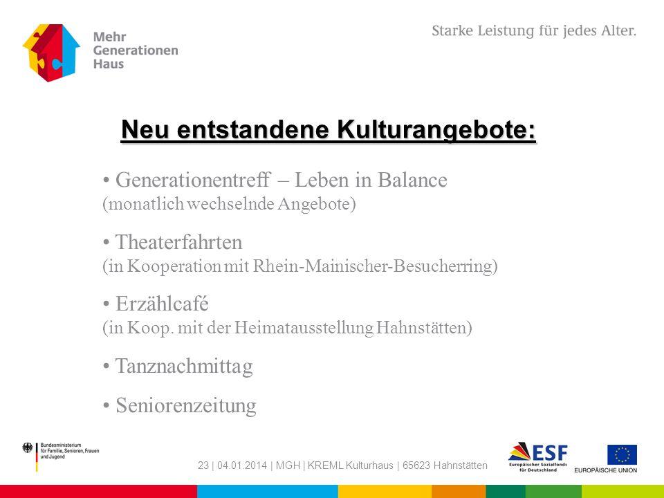 23 | 04.01.2014 | MGH | KREML Kulturhaus | 65623 Hahnstätten Neu entstandene Kulturangebote: Generationentreff – Leben in Balance (monatlich wechselnd