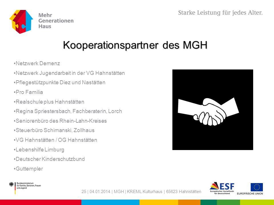 25 | 04.01.2014 | MGH | KREML Kulturhaus | 65623 Hahnstätten Kooperationspartner des MGH Netzwerk Demenz Netzwerk Jugendarbeit in der VG Hahnstätten P