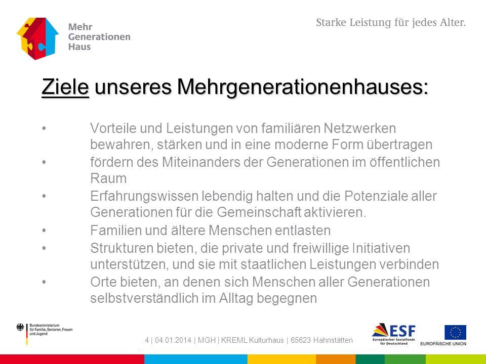 4 | 04.01.2014 | MGH | KREML Kulturhaus | 65623 Hahnstätten Ziele unseres Mehrgenerationenhauses: Vorteile und Leistungen von familiären Netzwerken be