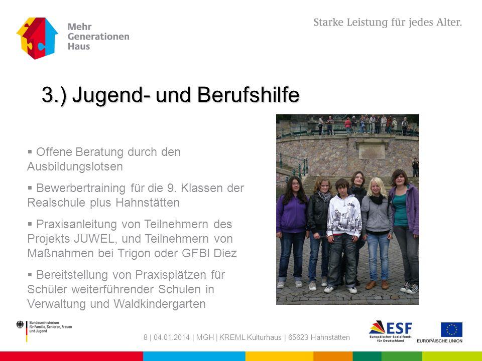 8 | 04.01.2014 | MGH | KREML Kulturhaus | 65623 Hahnstätten 3.) Jugend- und Berufshilfe Offene Beratung durch den Ausbildungslotsen Bewerbertraining f