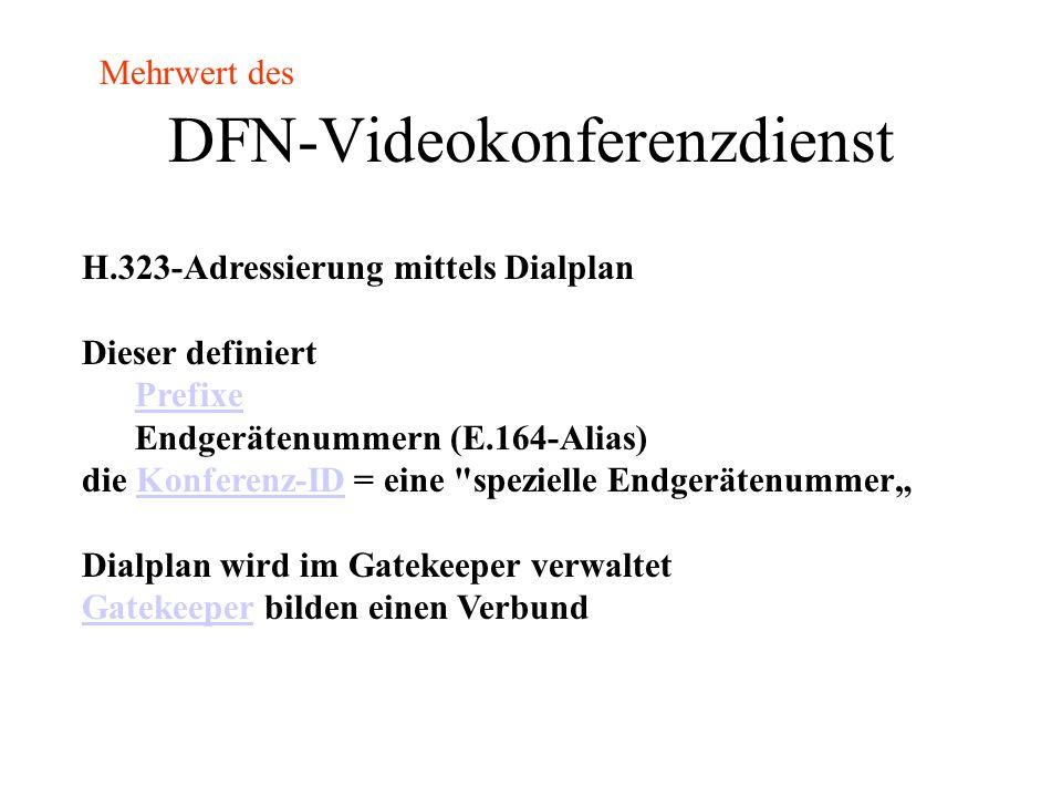 DFN-Videokonferenzdienst Verbindungsaufbau mittels H.323-Adressierung betreibt dazu deutschen Gatekeeper-Verbund betreibt MCU mit DFN-VC-PortalDFN-VC-Portal bietet Operatorunterstützung Details auf https://www.vc.dfn.de/https://www.vc.dfn.de/ Mehrwert des