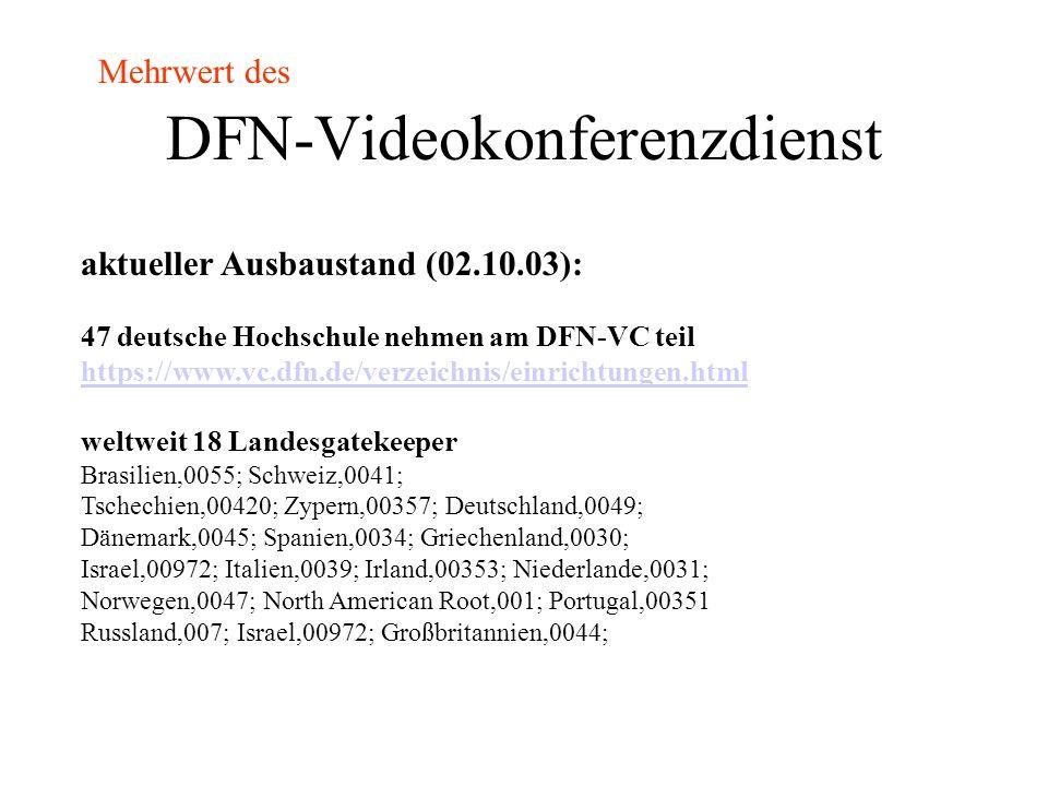 DFN-Videokonferenzdienst H.323-Adressierung mittels Dialplan Dieser definiert Prefixe Endgerätenummern (E.164-Alias) die Konferenz-ID = eine spezielle EndgerätenummerKonferenz-ID Dialplan wird im Gatekeeper verwaltet GatekeeperGatekeeper bilden einen Verbund Mehrwert des