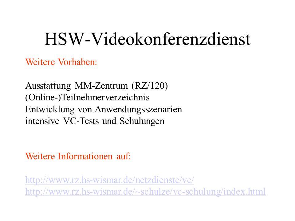 DFN-Videokonferenzdienst Festlegungen für HS Wismar Endgerätenummern (E.164-Alias) beim RZ beantragen (mit Nennung der IP-Adresse des Endgerätes) Nummernschema: HausNr.lfdNr.