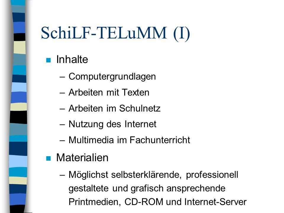 SchiLF-TELuMM (I) n Inhalte –Computergrundlagen –Arbeiten mit Texten –Arbeiten im Schulnetz –Nutzung des Internet –Multimedia im Fachunterricht n Mate