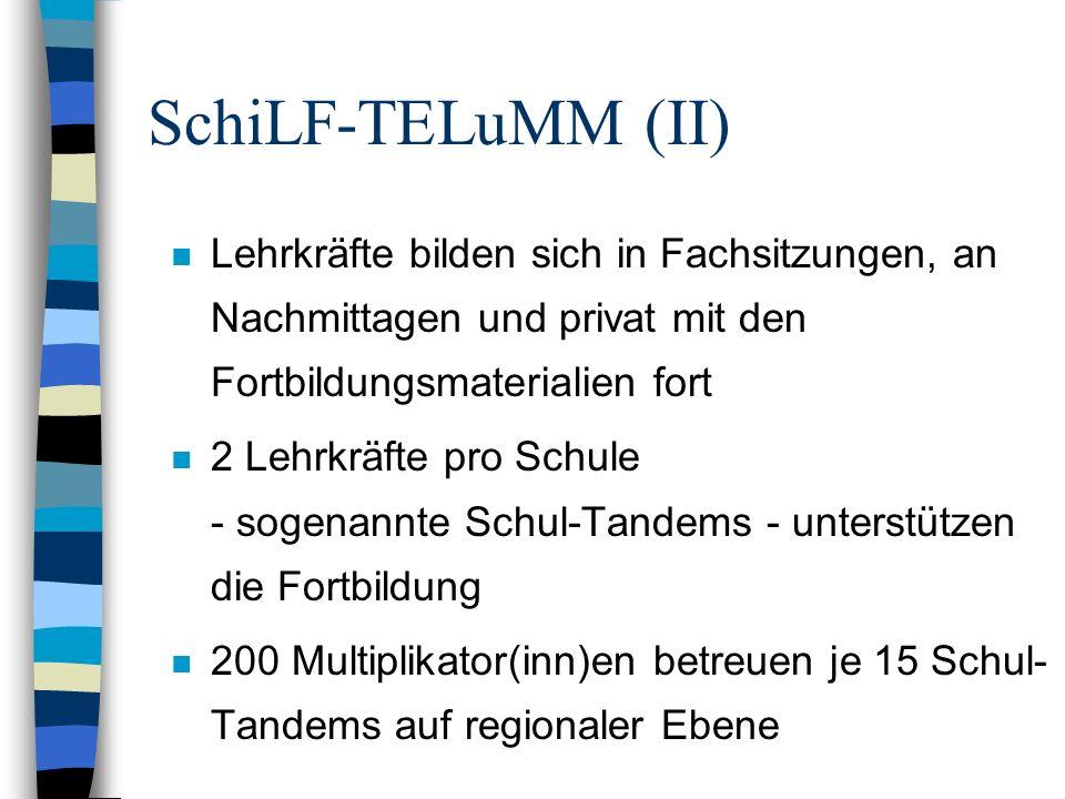 SchiLF-TELuMM (II) n Lehrkräfte bilden sich in Fachsitzungen, an Nachmittagen und privat mit den Fortbildungsmaterialien fort n 2 Lehrkräfte pro Schul