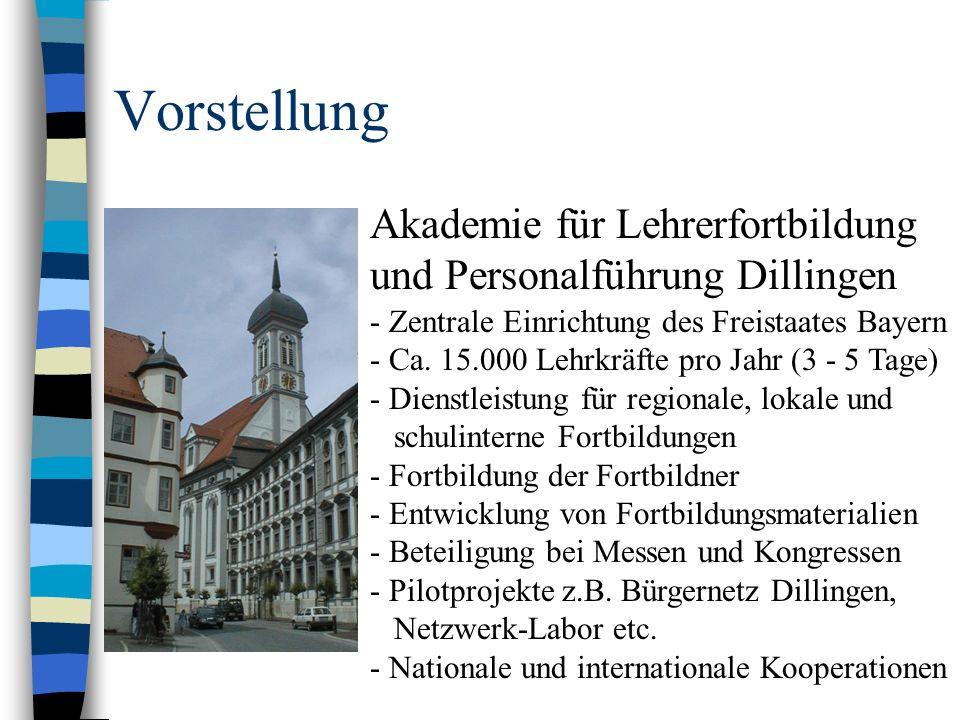 Vorstellung Akademie für Lehrerfortbildung und Personalführung Dillingen - Zentrale Einrichtung des Freistaates Bayern - Ca. 15.000 Lehrkräfte pro Jah